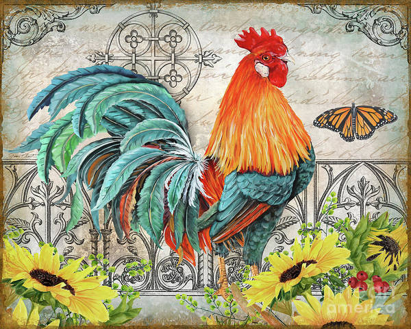 Wall Art - Painting - Ironwork Rooster B by Jean Plout