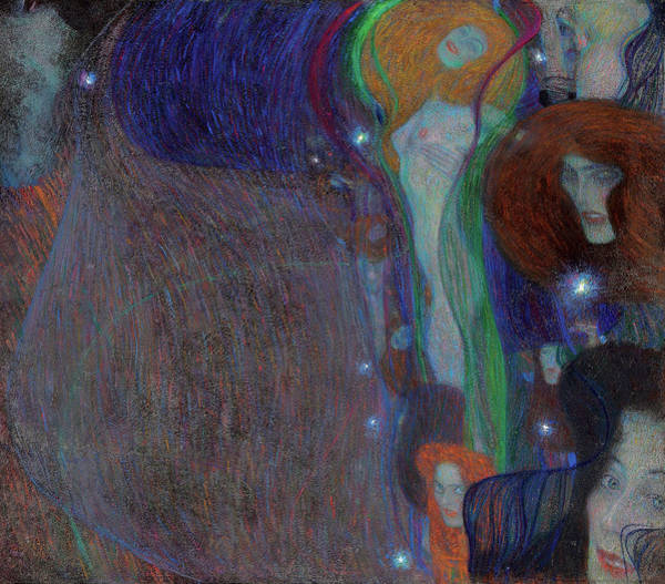 Wall Art - Painting - Irrlichter - Ghost Lights  by Gustav Klimt