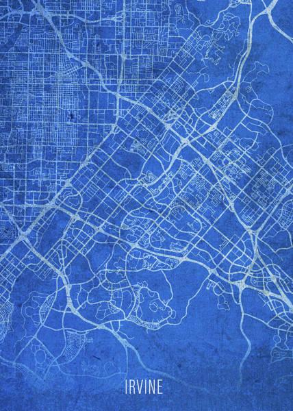 Wall Art - Mixed Media - Irvine California City Street Map Blueprints by Design Turnpike