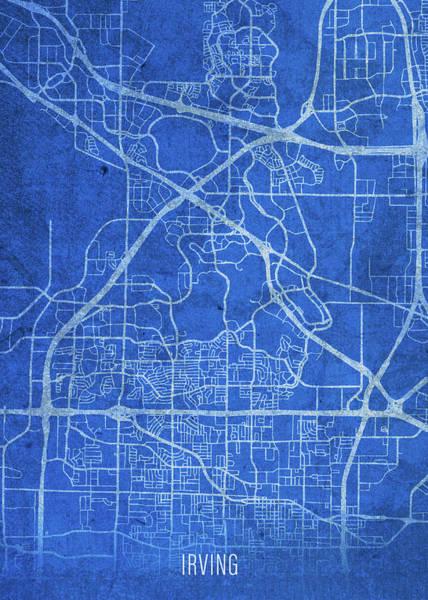 Wall Art - Mixed Media - Irving Texas City Street Map Blueprints by Design Turnpike