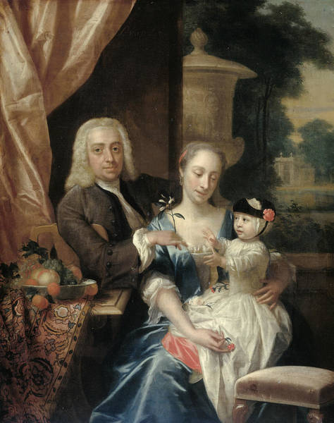 Painting - Isaac Parker, His Wife Justina Johanna Ramskrammer And Their Son Willem Alexander by Philip van Dijk
