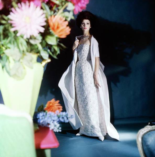 Blue Gown Photograph - Isabella Albonico Wearing Sophie Of Saks by Horst P. Horst