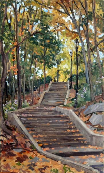 Painting - Isham Park Steps New York Autumn by Thor Wickstrom