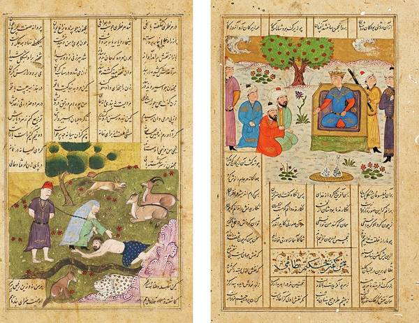 Wall Art - Painting - Iskandar Meeting The Philosophers And Majnun Begging The Old Woman To Take Him With Her, Persia, Tur by Celestial Images