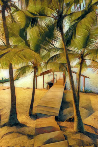 Photograph - Island Dock Under The Palms Abstract Painting by Debra and Dave Vanderlaan
