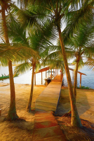 Photograph - Island Dock Under The Palms Painting by Debra and Dave Vanderlaan