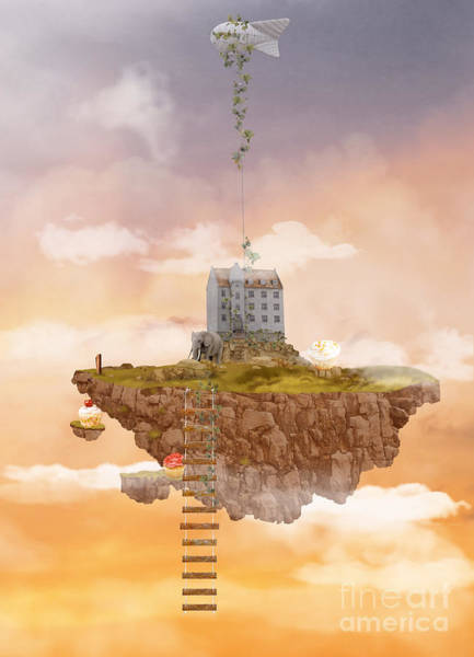 Wall Art - Digital Art - Island In The Sky. Illusion by Ganna Demchenko