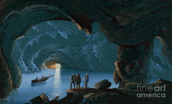 Wall Art - Painting - Island Of Capri, The Blue Grotto, 19th Century, Gouache by Italian School