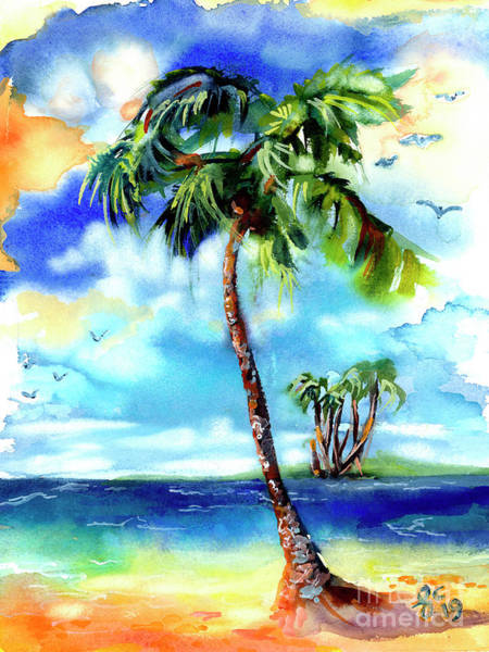 Painting - Island Solitude Palm Tree And Sunny Beach by Ginette Callaway