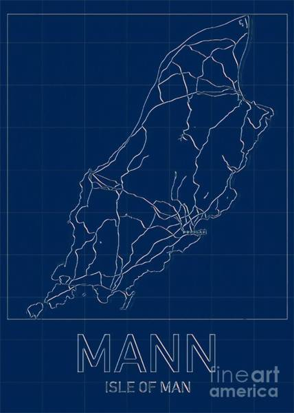Digital Art - Isle Of Man Blueprint Map by Helge