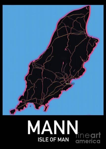 Digital Art - Isle Of Man Map by Helge