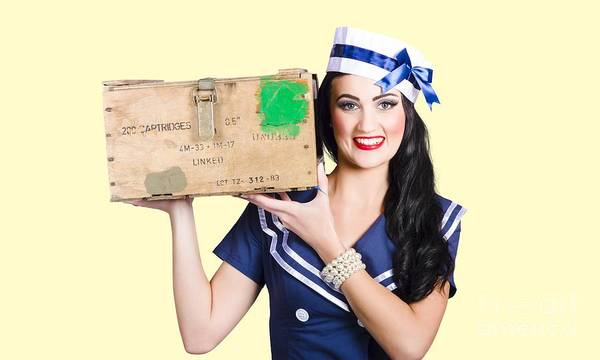 Ammo Photograph - Isolated Pin Up Girl Holding A Military Arms Box by Jorgo Photography - Wall Art Gallery