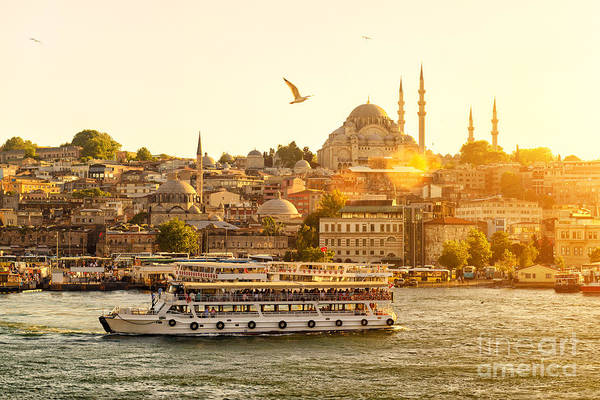 Wall Art - Photograph - Istanbul At Sunset, Turkey. Tourist by Viacheslav Lopatin