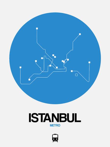Wall Art - Digital Art - Istanbul Blue Subway Map by Naxart Studio