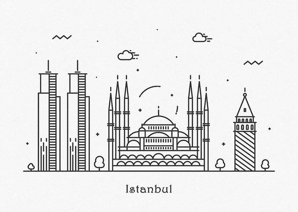 Turkiye Wall Art - Drawing - Istanbul Cityscape Travel Poster by Inspirowl Design