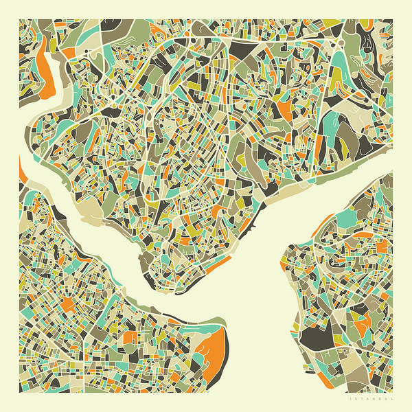 Wall Art - Digital Art - Istanbul Map 1 by Jazzberry Blue