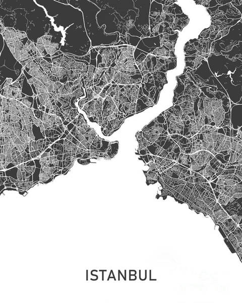 Wall Art - Photograph - Istanbul Map Black And White by Delphimages Photo Creations