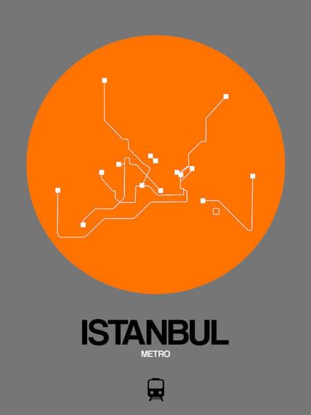 Wall Art - Digital Art - Istanbul Orange Subway Map by Naxart Studio