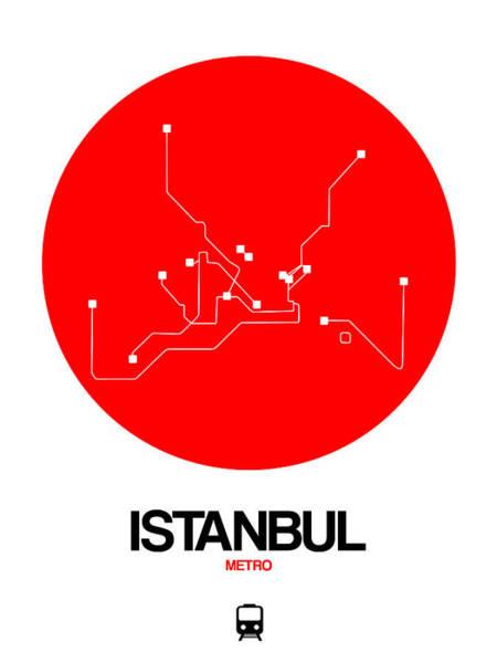 Wall Art - Digital Art - Istanbul Red Subway Map by Naxart Studio