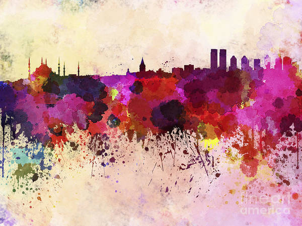 Wall Art - Digital Art - Istanbul Skyline In Watercolor by Cristina Romero Palma