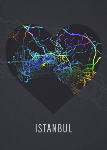 Wall Art - Mixed Media - Istanbul Turkey City Heart Street Map Love Dark Mode by Design Turnpike