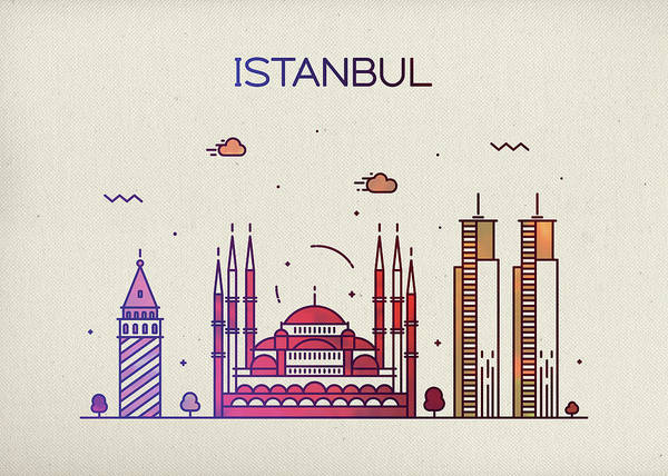 Turkish Mixed Media - Istanbul Turkey City Skyline Fun Whimsical Series Wide by Design Turnpike