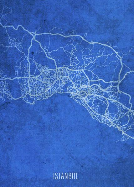 Turkish Mixed Media - Istanbul Turkey City Street Map Blueprints by Design Turnpike