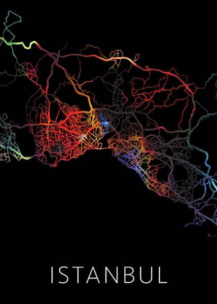 Turkish Mixed Media - Istanbul Turkey Watercolor City Street Map Dark Mode by Design Turnpike