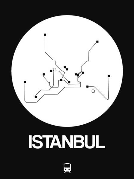 Wall Art - Digital Art - Istanbul White Subway Map by Naxart Studio