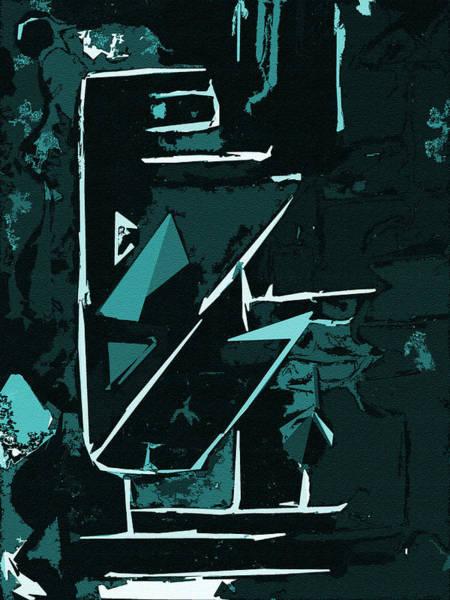 Digital Art - It Cuts Cyan by Luke Mitchell