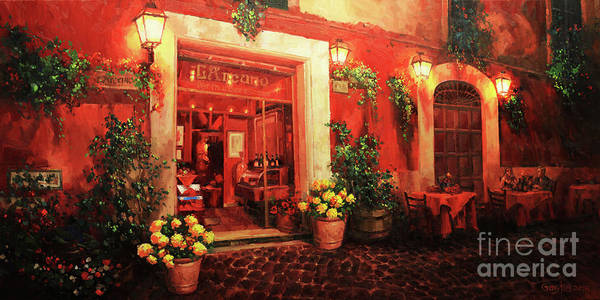 Wall Art - Painting - Italian Cafe Terrace At Night by Gary Kim