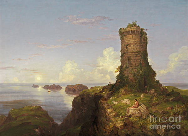 Outcrop Painting - Italian Coast Scene With Ruined Tower, 1838 by Thomas Cole