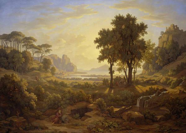 Wall Art - Painting - Italian Landscape At Setting Sun by Johann Martin von Rohden