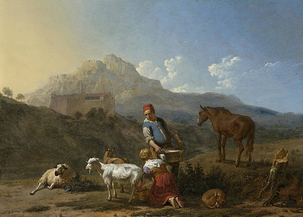 Painting - Italian Landscape With Goat Milkmaid by Karel Dujardin