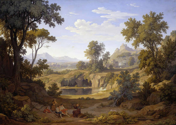 Wall Art - Painting - Italian Landscape With Pilgrims And Shepherds by Johann Martin von Rohden