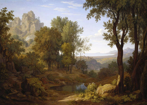 Wall Art - Painting - Italian Landscape With Two Pilgrims by Johann Martin von Rohden