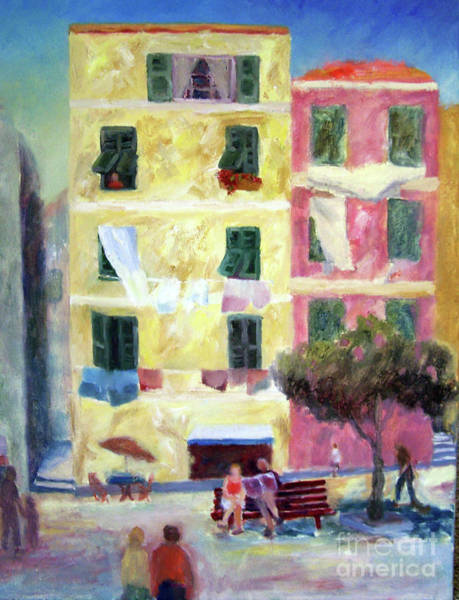 Painting - Italian Piazza With Laundry by Carolyn Jarvis