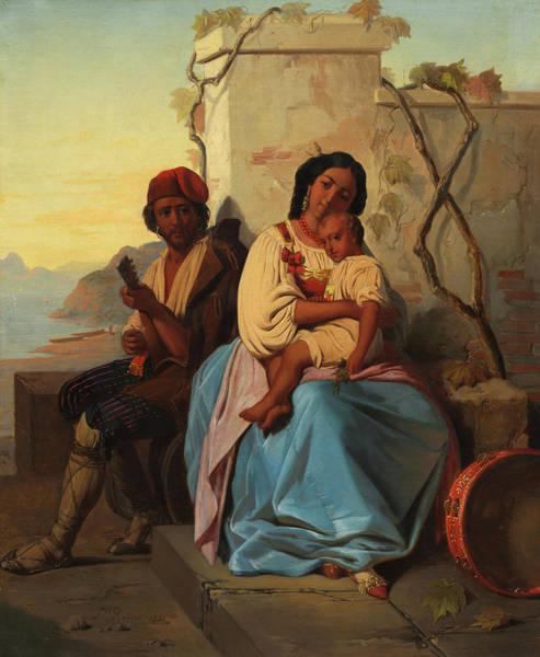 Lid Painting - Italian Scene by Leopold Robert