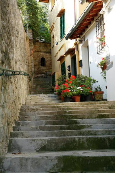 Roman Wall Photograph - Italian Stairway In Fiesole by Constantgardener