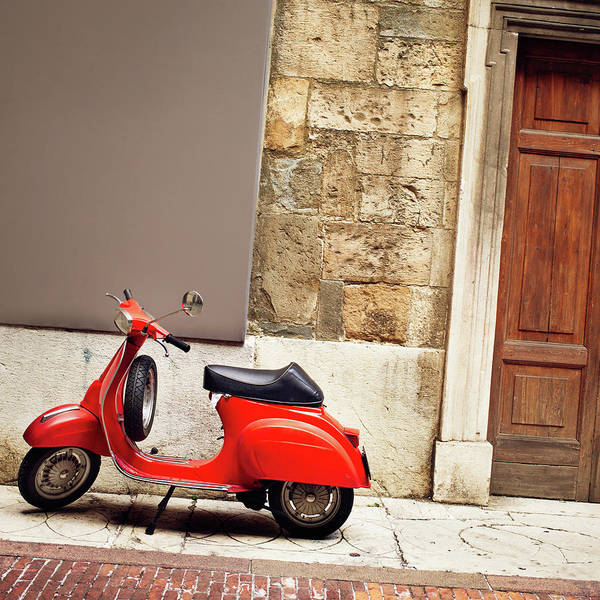 Wall Art - Photograph - Italian Vintage Red Scooter by Deimagine