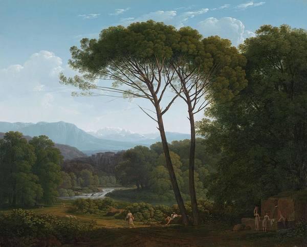 Utilitarian Painting - Italianate Landscape With Pines. Italiaans Landschap Met Pijnbomen. by Hendrik Voogd