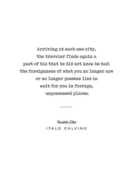 Wall Art - Mixed Media - Italo Calvino Quote 01 - Typewriter Quote - Minimal, Modern, Classy, Sophisticated Art Prints by Studio Grafiikka