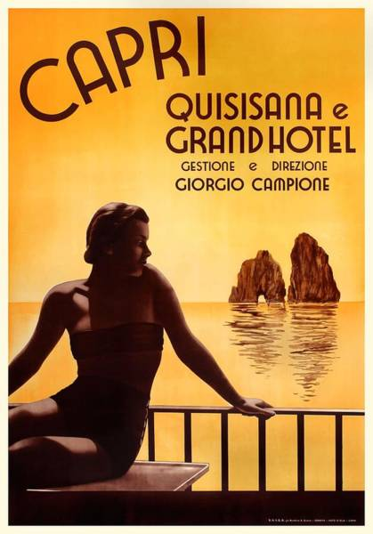 Wall Art - Digital Art - Italy 1938 Capri The Grand Hotel Quisisana Advertising Poster by Retro Graphics