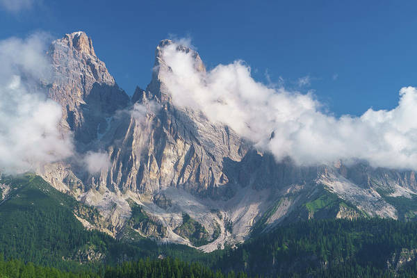 Wall Art - Photograph - Italy Clouds Swirl Around Rugged Peaks by Brenda Tharp