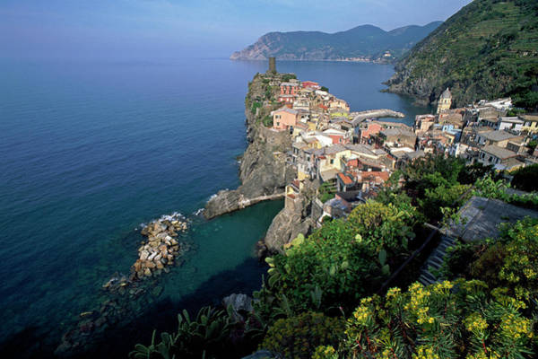 Vernazza Photograph - Italy, Liguria, Vernazza, Elevated View by Cosmo Condina