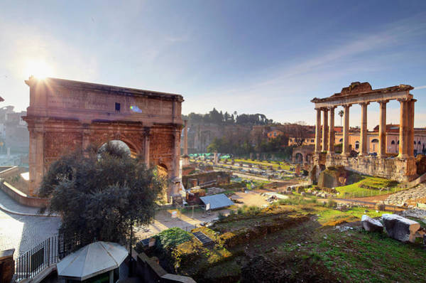 Roman Wall Photograph - Italy, Rome, Roman Forum, Septimius by Slow Images