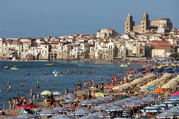 Sicily Photograph - Italy, Sicily. Cefalu. Bathers On  The by Buena Vista Images