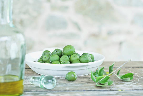 Olives Photograph - Italy, Tuscany, Magliano, Green Olives by Westend61
