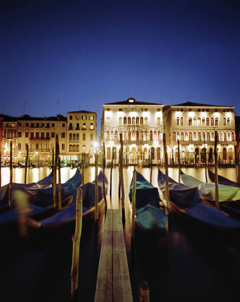 Object Photograph - Italy, Veneto, Venice, Row Of Gondolas by Gary Yeowell