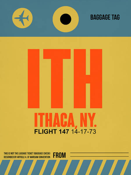Wall Art - Digital Art - Ith Ithaca Luggage Tag I by Naxart Studio